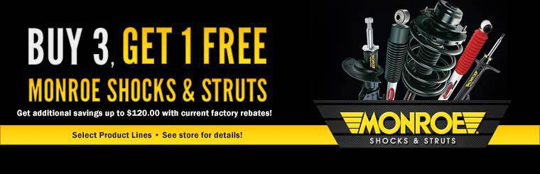 Buy 3 Monroe Shocks & Struts and get 1 free! Click here for more information.