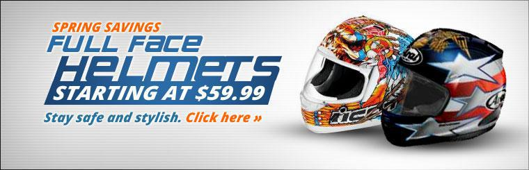 Full Face Helmets Starting at $59.99: Click here to view our selection.