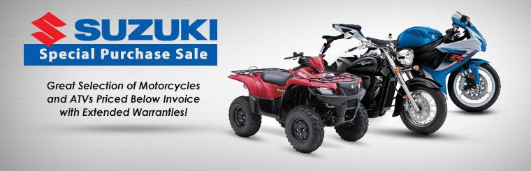Suzuki Special Purchase Sale: We have a great selection of motorcycles and ATVs priced below invoice with extended warranties!