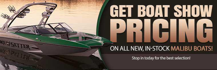 Get boat show pricing on all new, in-stock Malibu boats! Stop in today for the best selection!