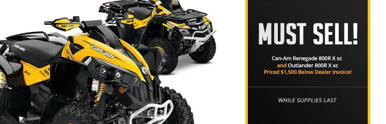 The Can-Am Renegade 800R X xc and Outlander 800R X xc are priced $1,500 below dealer invoice!