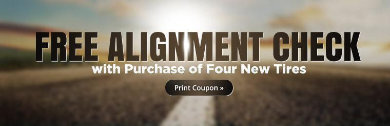 Receive a free alignment check with the purchase of four new tires. Click here to print the coupon.
