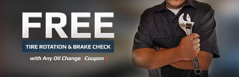 Receive a free tire rotation and brake check with any oil change. Click here to print the coupon.
