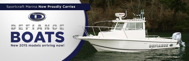 Sportcraft Marina now proudly carries Defiance boats. New 2015 models are arriving now!