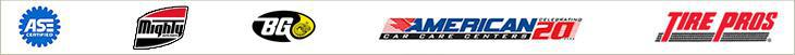 We are associated with ASE, Mighty, BG, American Car Care, and Tire Pros.