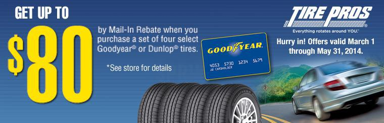 Get up to eighty dollars by mail-in-rebate when you purchase a set of four select Goodyear or Dunlop tires.