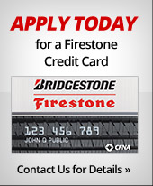 Apply today for a Firestone credit card! Contact us for details.