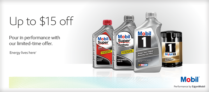 Up to $15 off. Pour in performance with our limited-time offer on Mobil oil. Click for details.
