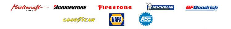 We carry products from Mastercraft, Bridgestone, Firestone, Michelin®, BFGoodrich®, and Goodyear. We are affiliated with NAPA AutoCare, and we are ASE certified.