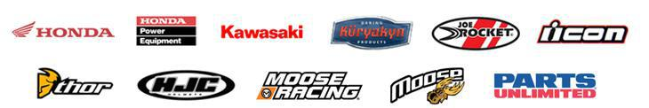We proudly carry products from Honda, Honda Power Equipment, Kawasaki, Generac, Kuryakyn, Joe Rocket, Icon, Thor, HJC, Moose Racing, Moose, and Parts Unlimited.