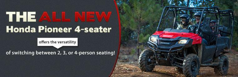 The all-new Honda Pioneer 4-seater offers the versatility of switching between 2, 3, or 4-person seating! Click here to view the model.