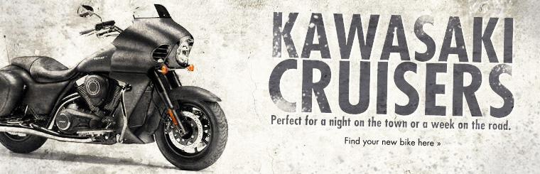 Kawasaki cruisers are perfect for a night on the town or a week on the road. Click here to find your new bike.