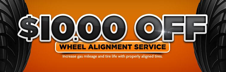 Ten Dollar Discount on Any Wheel Alignment: Click here for the coupon!