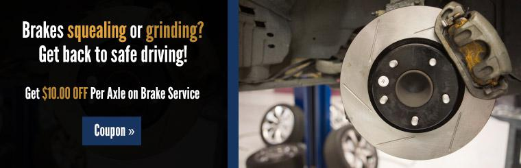 Save ten dollars per axle on brake service! Click here to print the coupon.