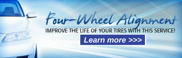 Four-wheel alignment. Improve the life of your tires with this service! Learn more!
