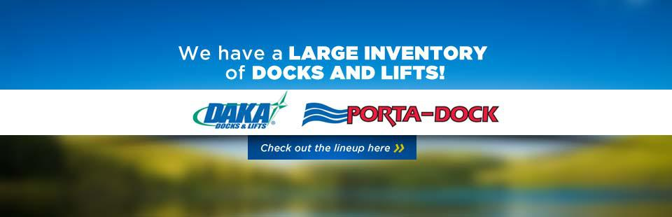 We have a large inventory of docks and lifts! Click here to view our lineup.