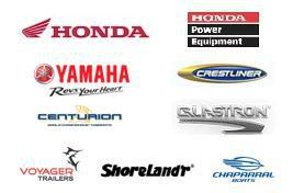 We proudly carry products from Honda, Honda Power Equipment, Yamaha Outboard, Tracker, Crestliner, Centurion, ShoreLand'r, Glastron Boats, Voyager Trailers, and Chaparral.