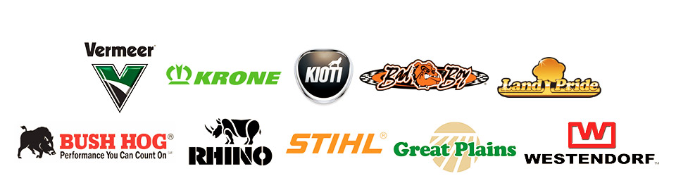 We carry products from Vermeer, Krone, KIOTI, Bad Boy, Land Pride, Bush Hog, Rhino, STIHL, Great Plains, and Westendorf.