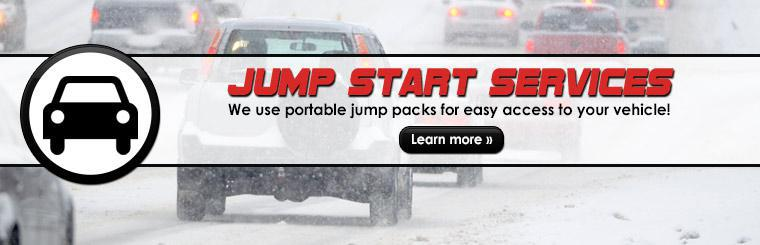 Jump Start Services: We use portable jump packs for easy access to your vehicle! Click here to learn more.