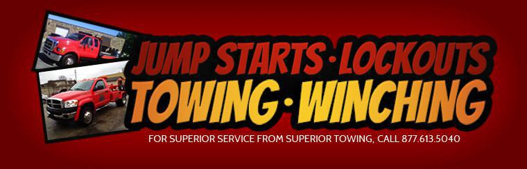 For superior service from Superior Towing, including jump starts, lockout assistance, towing, and winching, call 877-613-5040. Click here to learn more about the services we offer.