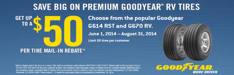 Get up to a $50 per tire mail-in rebate on select Goodyear Tires.