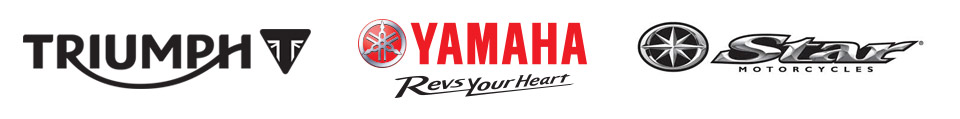 We carry products from Triumph, Yamaha and Star Motorcycles