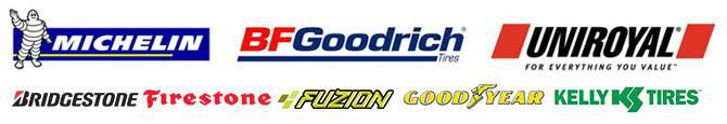 We carry products from Michelin® BFGoodrich®, Uniroyal®, Bridgestone, Firestone, Fuzion, Goodyear, and Kelly.