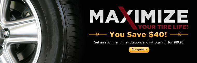 Get an alignment, tire rotation, and nitrogen fill for $89.95! Click here to print the coupon.
