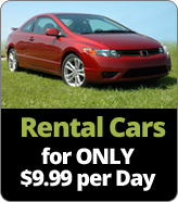Rental cars for inly $9.99 per day.