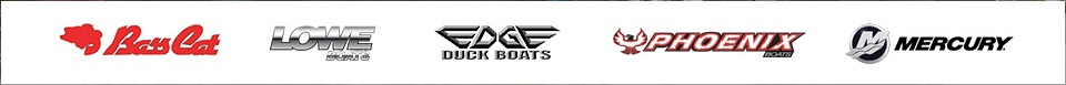 We carry products from Bass Cat, Lowe Boats, Edge Duck Boats, Phoenix Boats, and Mercury.