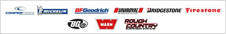 We carry products from Cooper, Michelin®, BFGoodrich®, Uniroyal®, Bridgestone, Firestone, BG, Warn, and Rough Country.