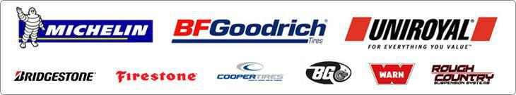 We carry products from Michelin®, BFGoodrich®, Uniroyal®, Bridgestone, Firestone, Cooper, BG, Warn, and Rough Country.