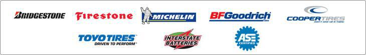 We proudly offer products from Bridgestone, Firestone, Michelin, BFGoodrich, Cooper, Toyo, and Interstate Batteries. We have ASE-Certified Technicians.