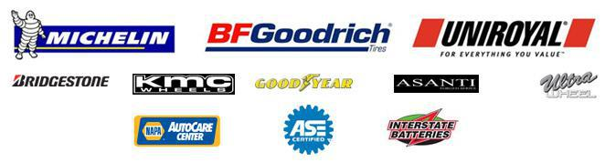 We proudly offer products from: Michelin®, BFGoodrich®, Uniroyal®, Bridgestone, KMC, Goodyear, Asanti, and Ultra Wheel. We are a NAPA AutoCare Center and ASE certified. We also carry Interstate Batteries.