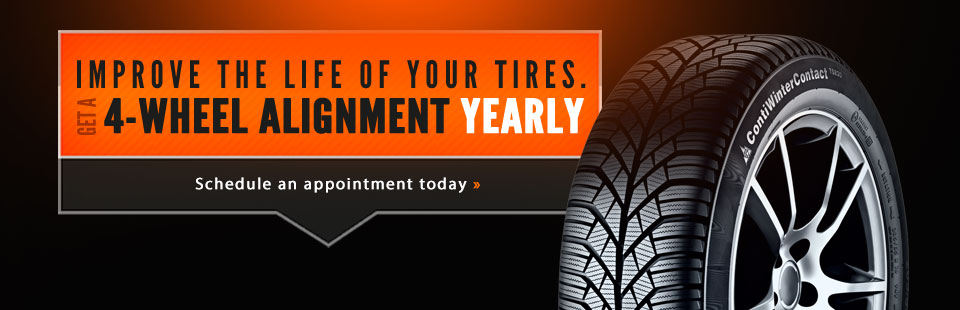 Get a 4-wheel alignment yearly. Schedule an appointment today.