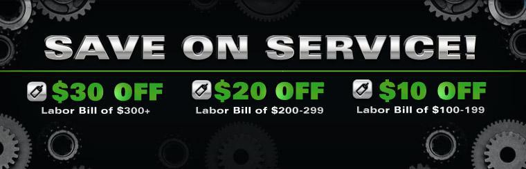 Save on service! Take up to $30 off your labor bill! Click here for coupon.