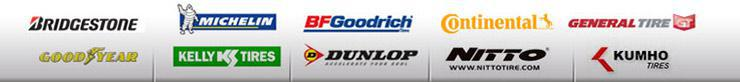 We carry products from Bridgestone, Michelin®, BFGoodrich®, Continental, General Tire, Goodyear, Kelly Tires, Dunlop, Nitto, and Kumho.