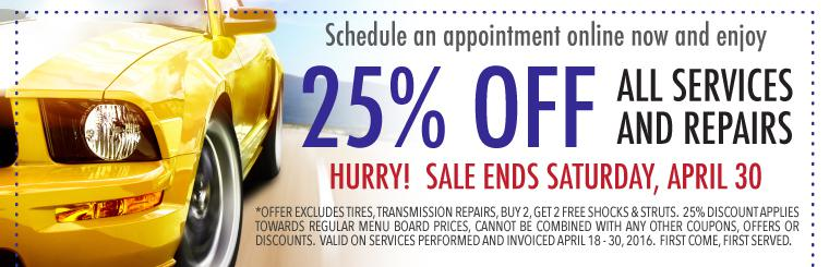 25% Off Auto Services and Repairs Coupon