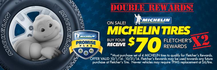 Double $70 Fletcher's Rewards on Michelin Tires