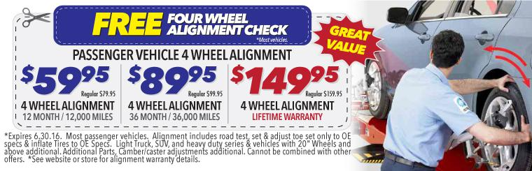 $59.95 4 Wheel Alignment Sale