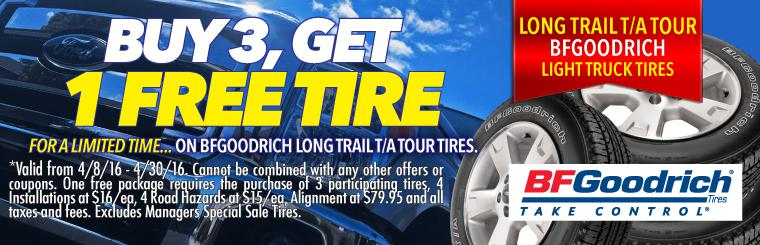 Buy 3 Get 1 Free BFGoodrich Long Trail Tour Tire Sale