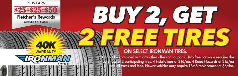 Buy 2, Get 2 Free Tire Sale + Double Rewards