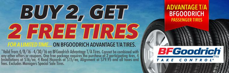 Buy 2 Get 2 Free BFGoodrich Advantage TA Tire Sale