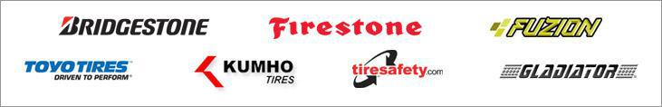 We carry products from Bridgestone, Firestone, Fuzion, Toyo, Kumho, and  Gladiator. We are affiliated with tiresafety.com