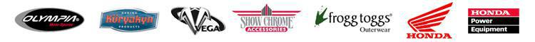 We proudly carry products from Olympia, Kuryakyn, Vega, Show Chrome, Frogg Toggs, Honda, and Honda Power Equipment.