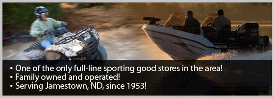 One of the only full-line sporting good stores in the area! Family owned and operated! Serving Jamestown, ND, since 1953!