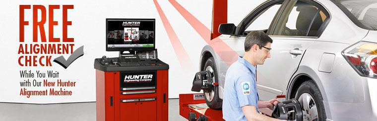 Get a free alignment check while you wait with our new Hunter alignment machine!