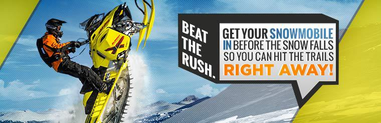 Beat the rush. Get your snowmobile in before the snow falls so you can hit the trails right away! Contact us for details.