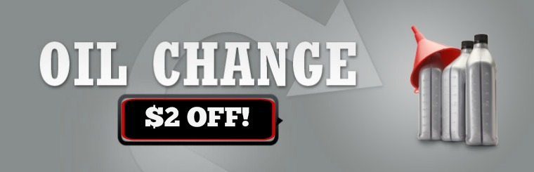 Oil Change $2 off with coupon.