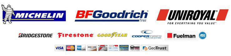 We proudly carry the following brands: Michelin®, BFGoodrich®, Uniroyal®, Bridgestone, Firestone, Goodyear, and Cooper. We are associated with Fuelman and are ASE Certified. We are secured by GeoTrust.